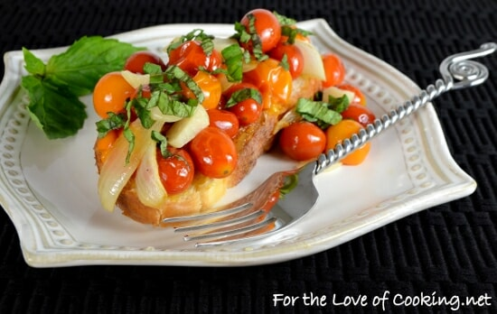 Roasted Grape Tomatoes, Onions, and Garlic on Toast with Fresh Basil