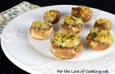 Brie Stuffed Mushrooms Topped with Garlicky Panko