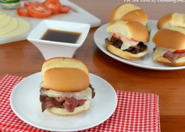 French Dip Sliders with Tomato and Provolone