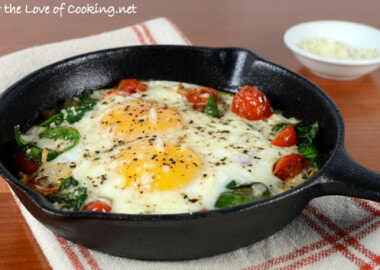 Baked Eggs with Sautéed Onions, Tomatoes, and Spinach
