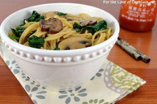 Mushroom, Spinach, and Garlic Noodles