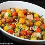 Roasted Baby Heirloom Tomatoes with Basil, Shaved Parmesan, and Toasted Pine Nuts