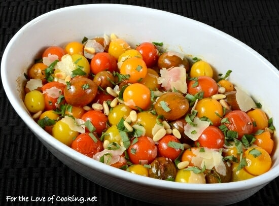 Roasted Baby Heirloom Tomatoes with Basil, Shaved Parmesan, and Toasted Pinenuts