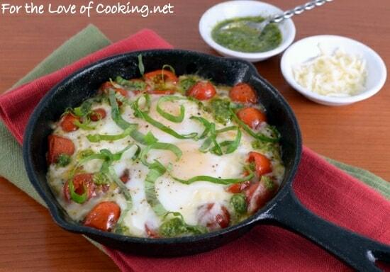 Baked Caprese Eggs with Pesto