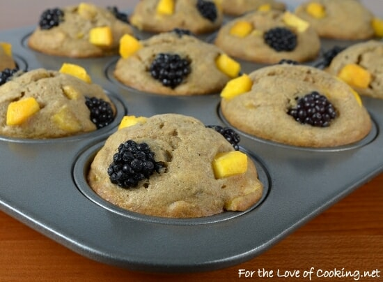 Peach, Blackberry, and Banana Muffins
