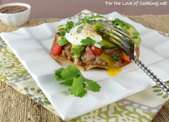 Breakfast Tostada with Steak and Avocado