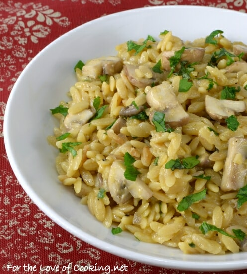 Orzo with Garlicky Mushrooms, Parmesan, and Basil