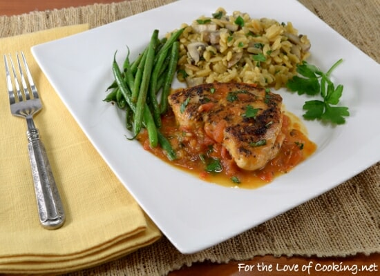 Basil Garlic Chicken Breasts with a Tomato Basil Sauce AND an All-Clad NS1 Nonstick Induction Chef's Pan Giveaway