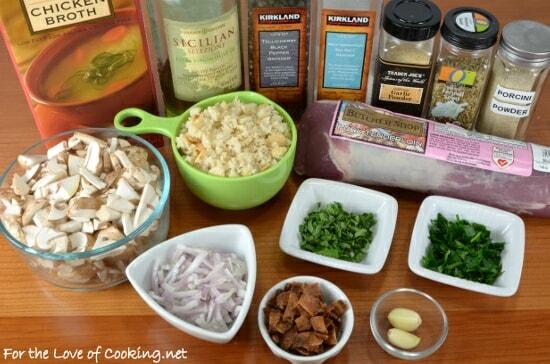 Mushroom, Bacon, and Herb Stuffed Pork Tenderloin