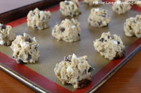 Thick and Chewy Black and White Chocolate Chip Cookies with Pecans