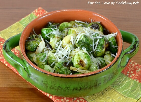 Roasted Brussels Sprouts with Garlic Slivers and Parmesan