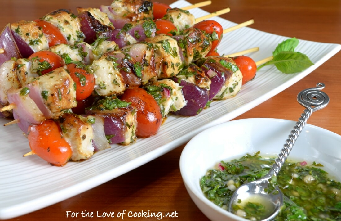 Grilled Chimichurri Chicken Skewers