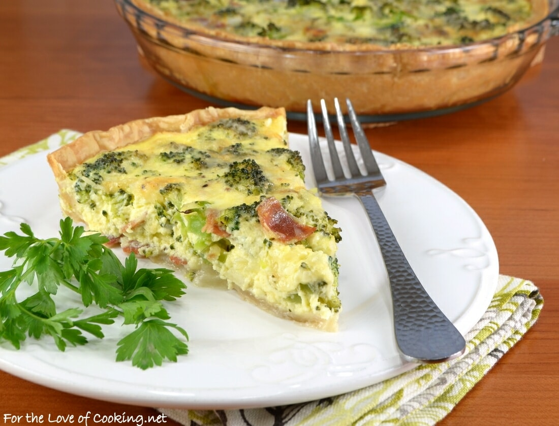 Broccoli, Extra Sharp Cheddar, and Bacon Quiche