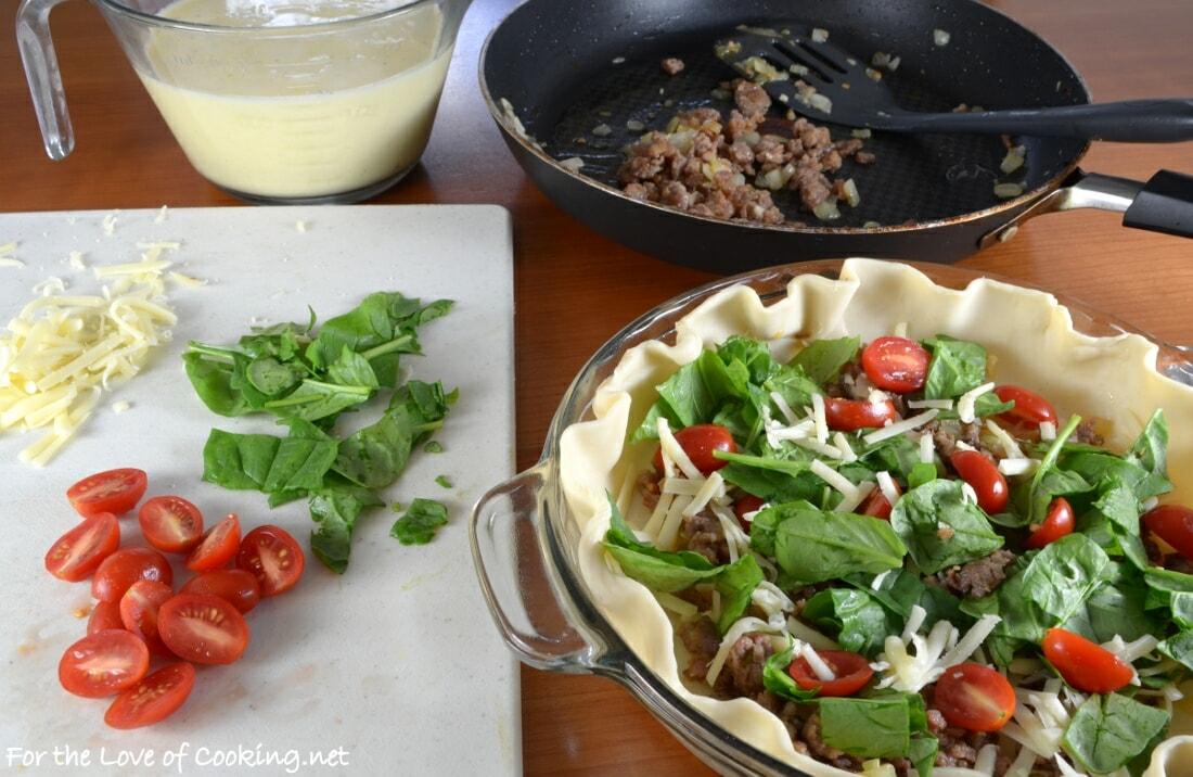 Italian Sausage, Tomato, and Spinach Quiche
