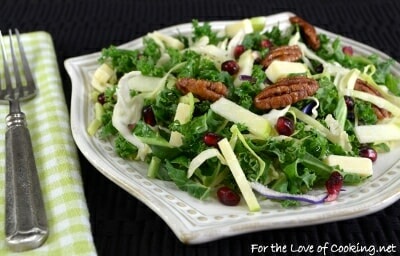 Shaved Kale & Brussels Sprout Salad with Apple, Sharp Cheddar, Pecans & White Balsamic Vinaigrette