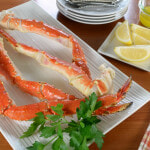 Steamed King Crab Legs with Garlic Butter and Lemon