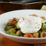 Roasted Veggie and Baby Potato Hash with a Poached Egg