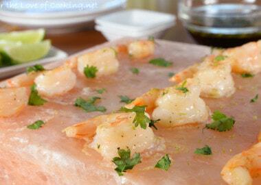 Garlic-Lime Shrimp Cooked on a Himalayan Salt Plate