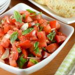 Fresh Tomato Basil Salad with Garlic Crostini