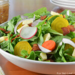 Irish Root Salad with Spinach, Sharp White Cheddar, and Bacon-Mustard Vinaigrette