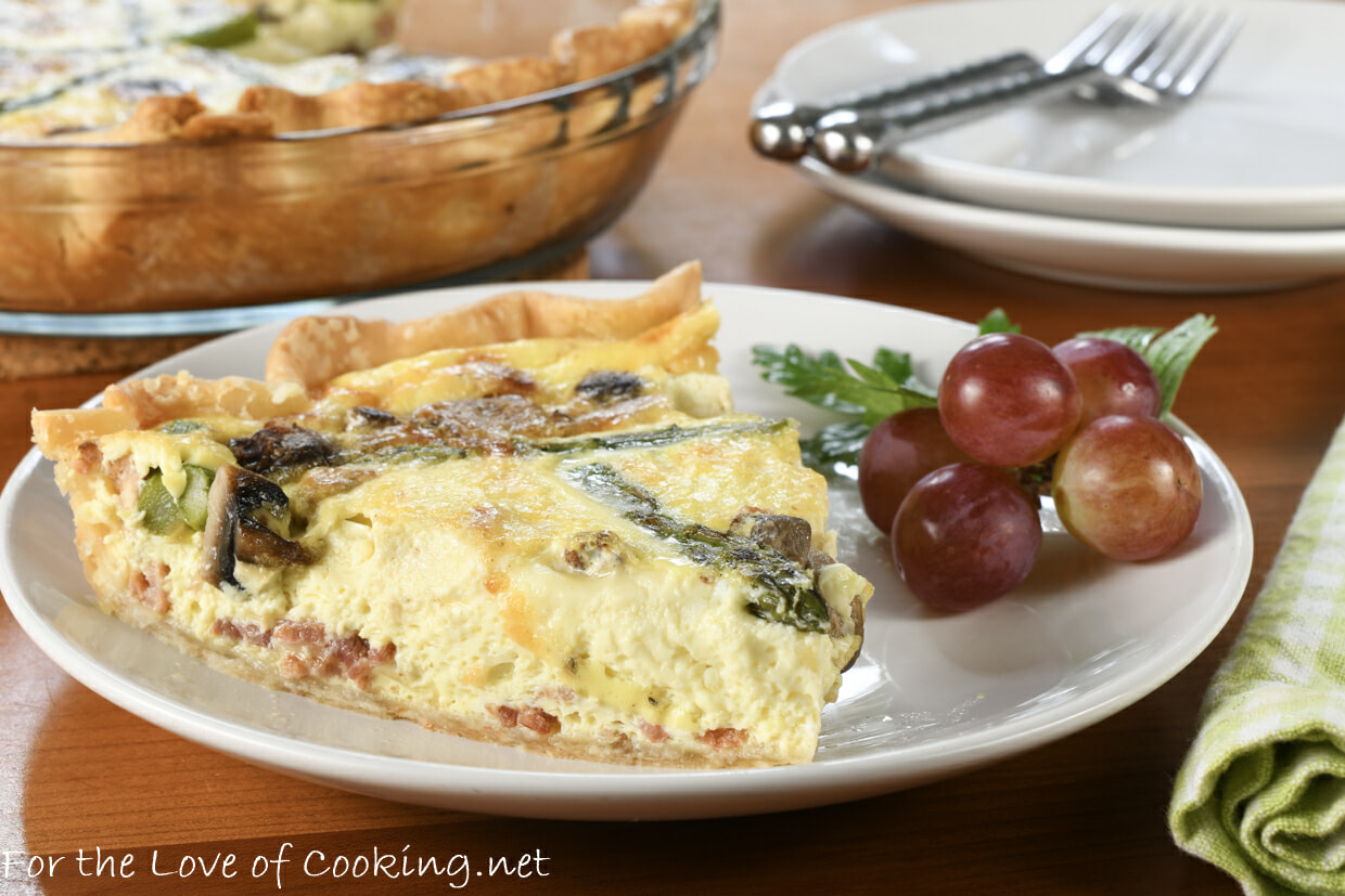 Bacon, Asparagus, and Mushroom Quiche with Gruyere and Fontina