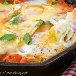Eggs in Garlicky Tomato Sauce with Brie