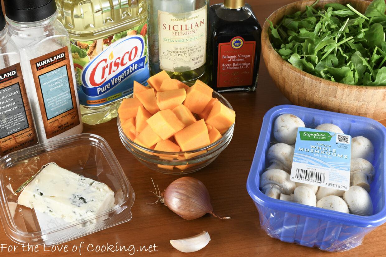 Warm Salad of Mushrooms and Roasted Butternut Squash with Arugula and Gorgonzola