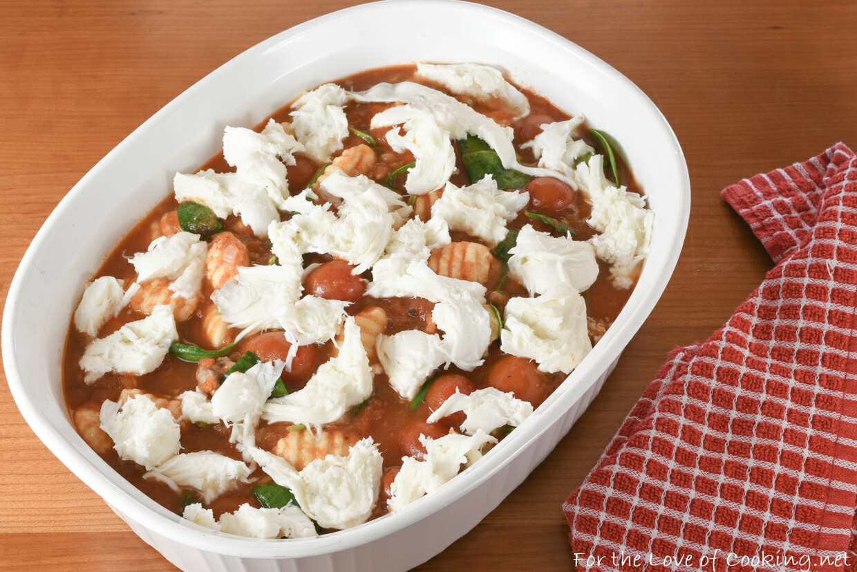 Baked Gnocchi with Italian Sausage, Grape Tomatoes, Spinach, and Mozzarella