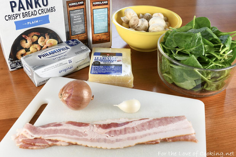 Cheesy Bacon & Spinach Stuffed Mushrooms
