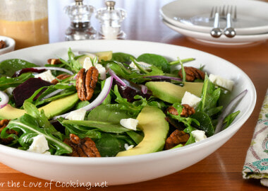Roasted Beet, Goat Cheese, and Avocado Spinach Salad with Honey-Dijon Vinaigrette