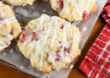 Strawberry Shortcake Cookies with Vanilla Glaze