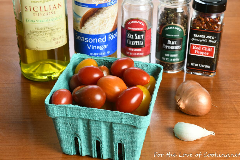 Marinated Grape Tomatoes with Shallot and Garlic
