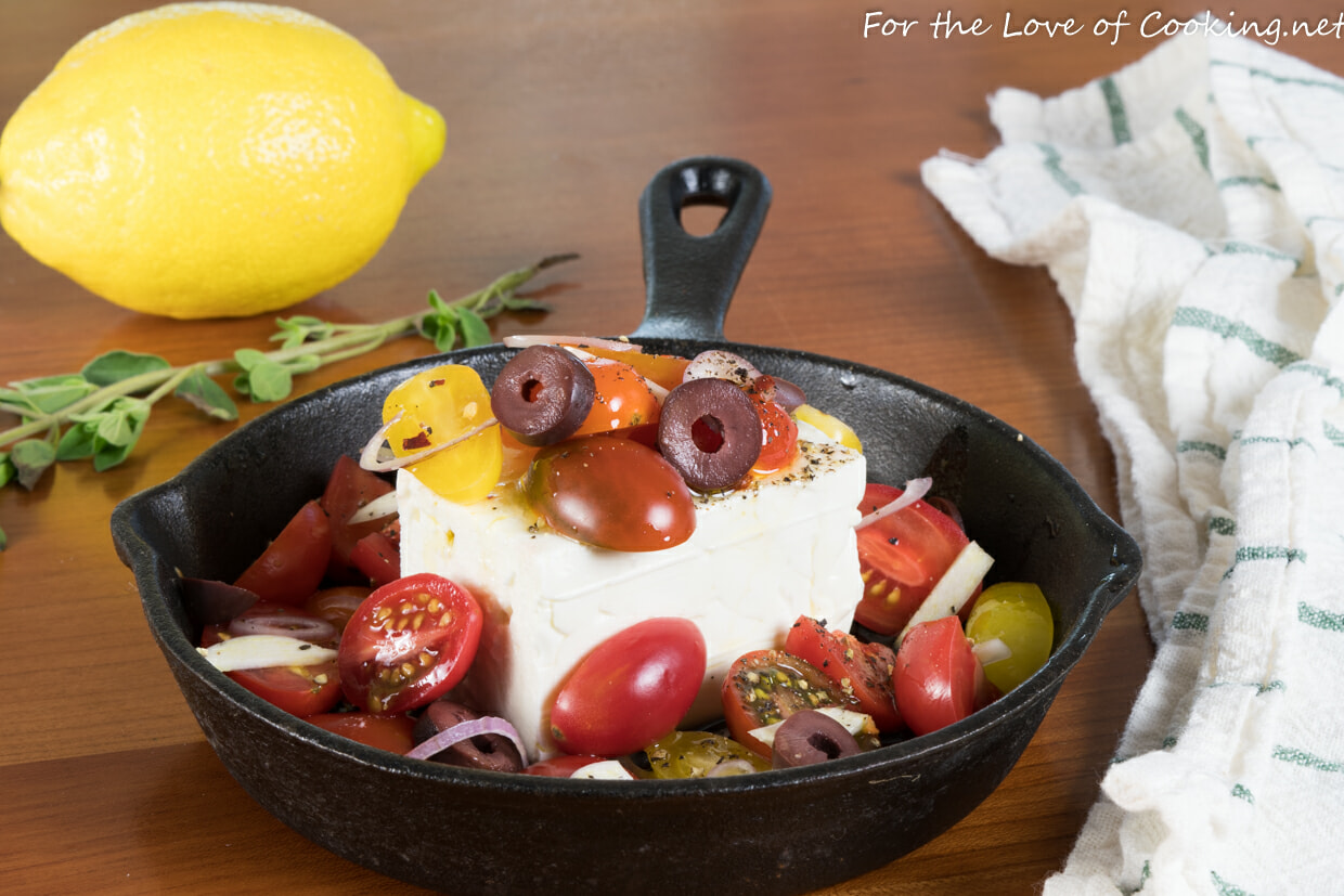 Baked Feta with Tomatoes, Olives, and Garlic