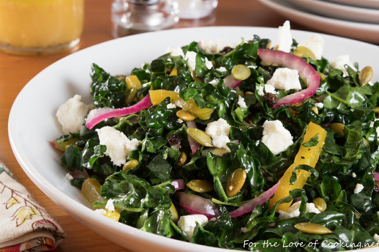 Shredded Kale Salad with Roasted Beet, Toasted Pepitas, Dried Currants, Pickled Onions and Feta Cheese with an Orange Vinaigrette