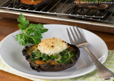 Stuffed Portobellos with Marinara, Spinach, and Panko Crusted Goat Cheese