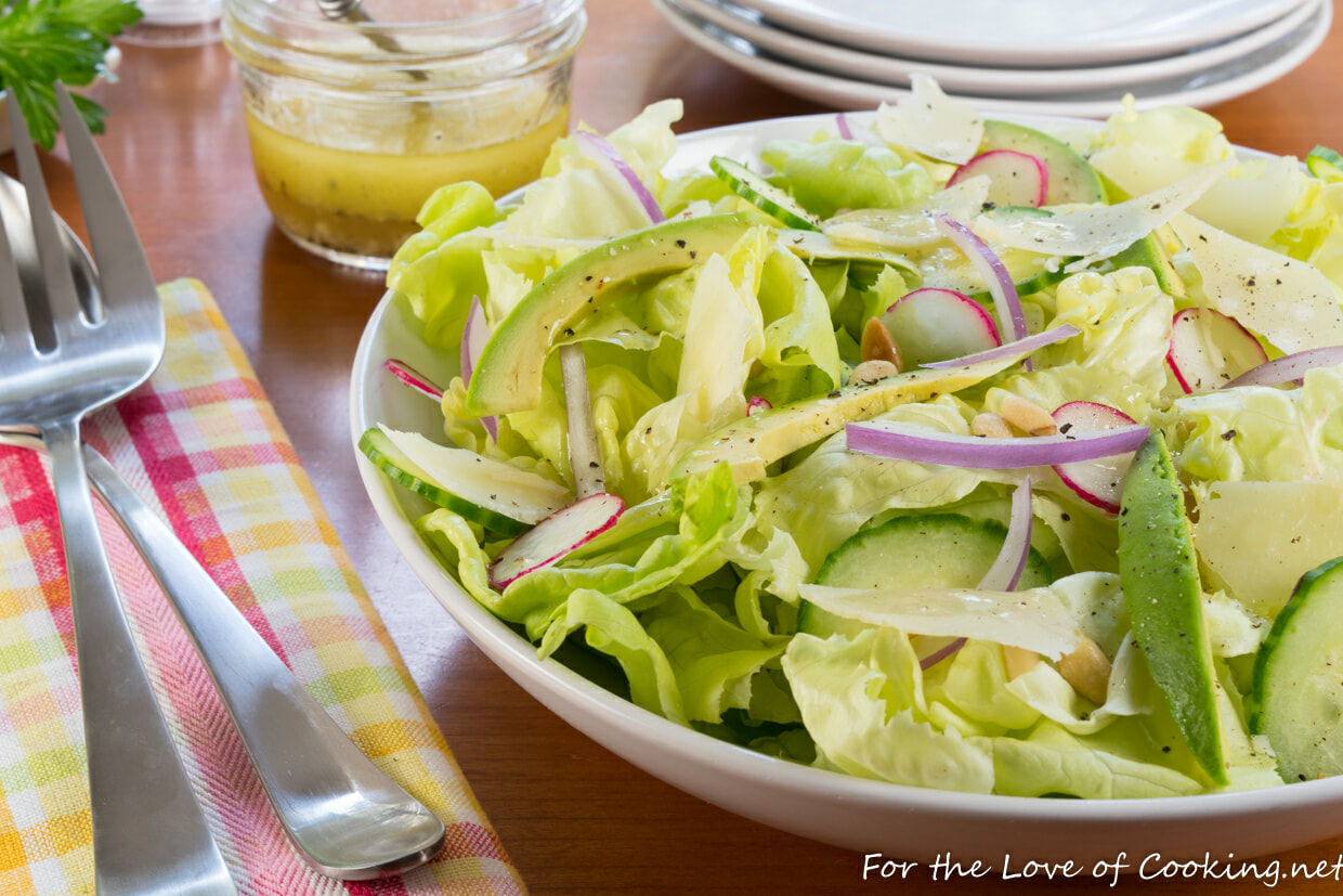 Butter Lettuce Salad with Avocado, Cucumber, and Pine nuts with a Lemon Vinaigrette