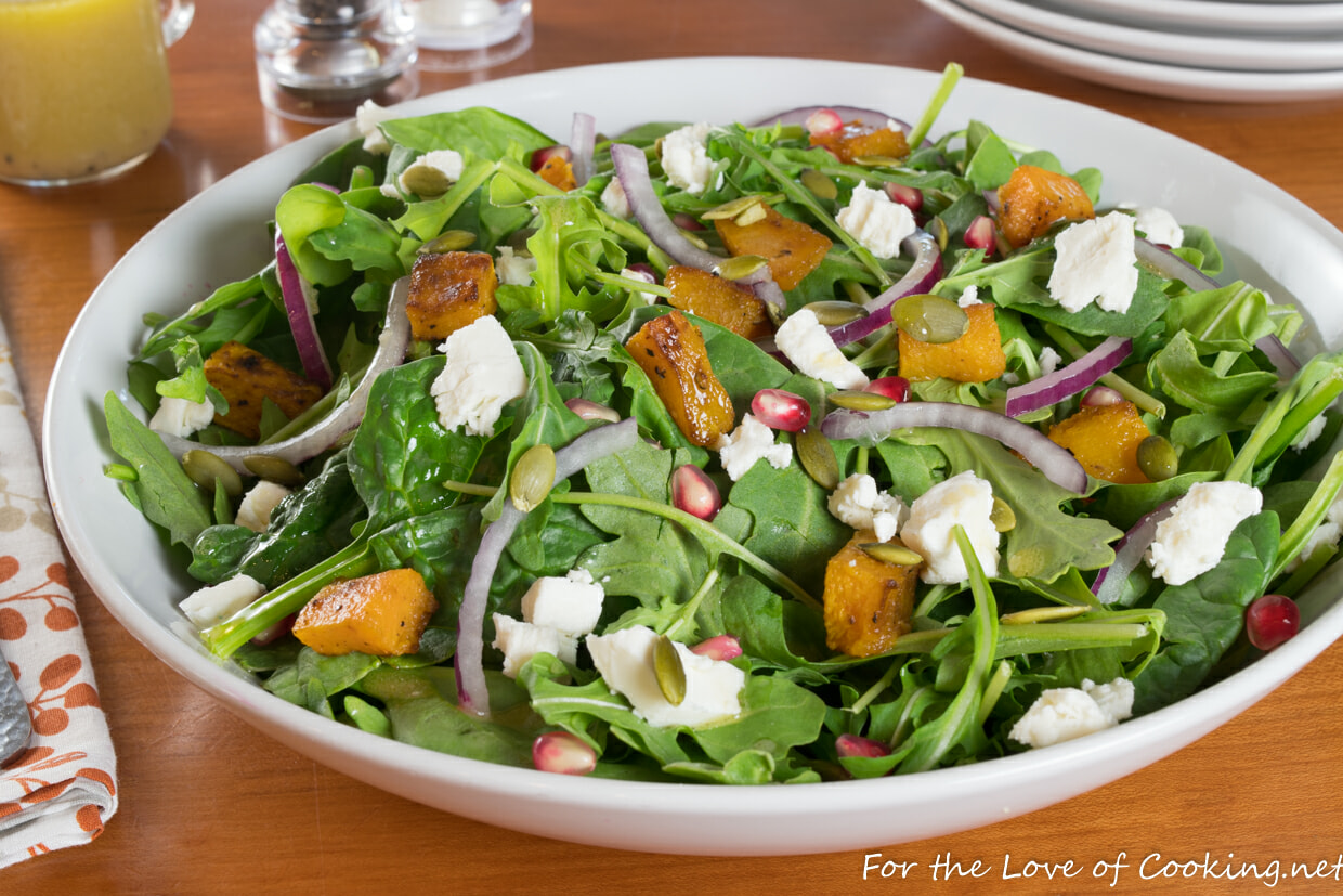 Roasted Butternut Squash & Pomegranate Salad with Garlicky Honey-Dijon Dressing