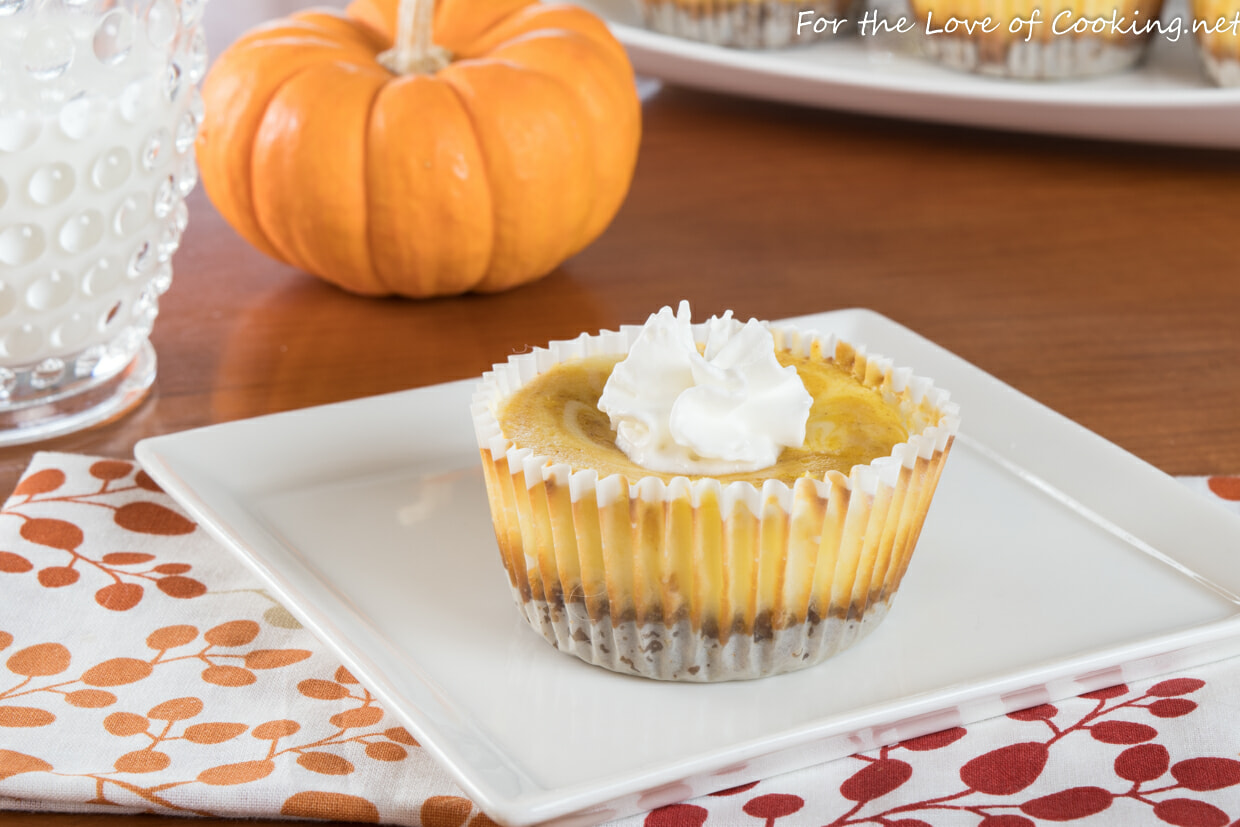Mini Pumpkin Swirl Cheesecake with Gingersnap Crust