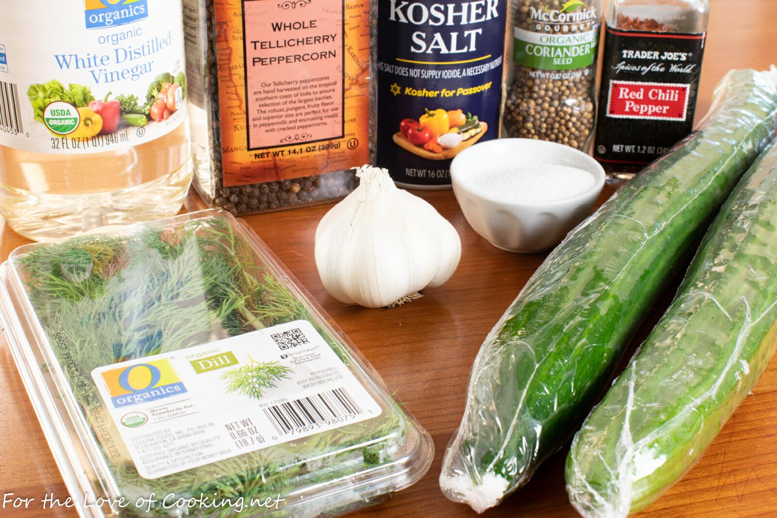 Quick Refrigerator Spicy Garlic-Dill Pickles