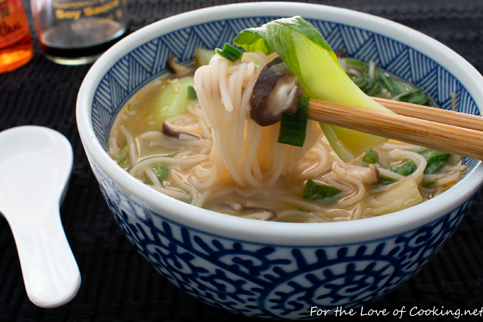 Ginger Garlic Noodle Soup with Bok Choy and Shiitake Mushrooms