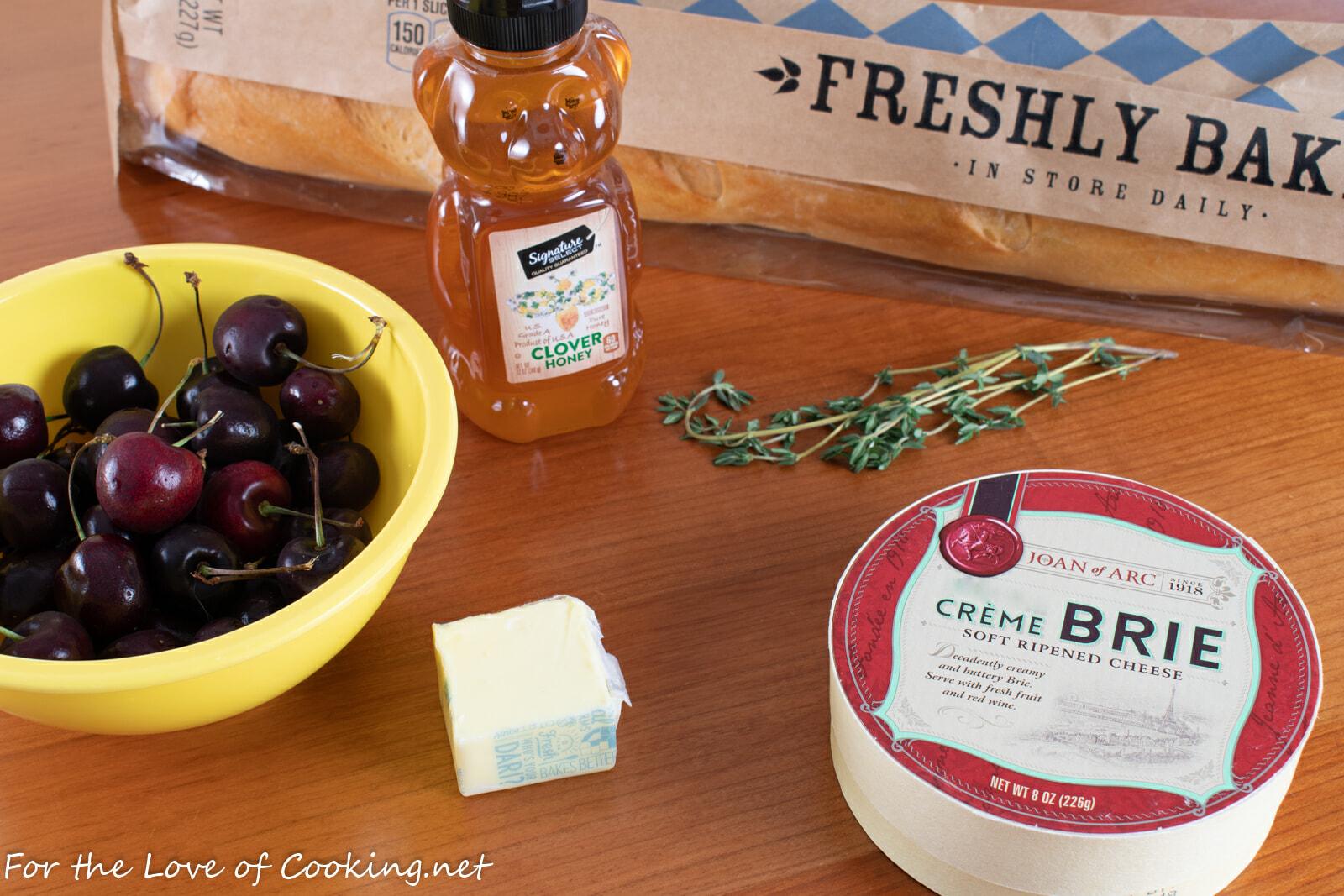 Honey Thyme Sweet Cherry Baked Brie