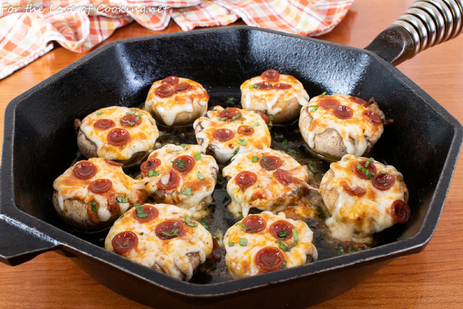 Pepperoni Pizza Stuffed Garlic Butter Mushrooms