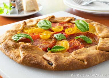 Heirloom Tomato Galette with Mozzarella and Fresh Basil
