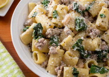 Rigatoni with Sausage, Beans and Greens