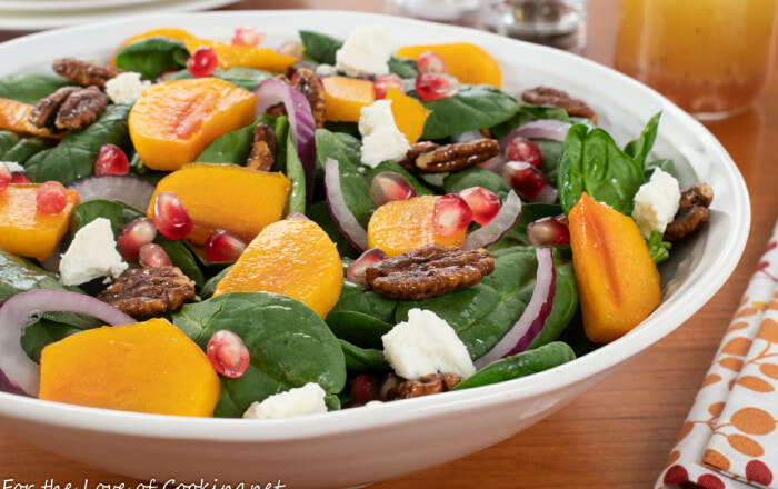 Spinach Salad with Persimmons, Pomegranate Seeds and Candied Pecans