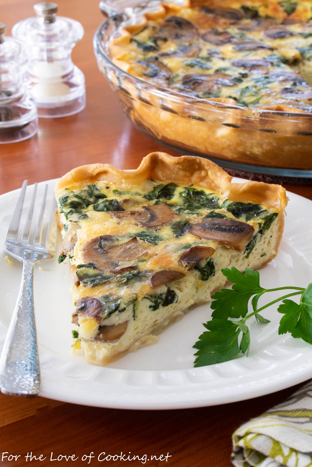 Mushroom and Spinach Quiche with Fontina