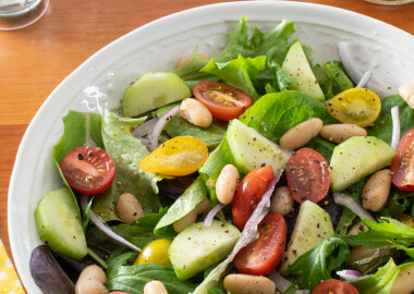 Tomato, Cucumber and White Bean Salad with Lemon Vinaigrette