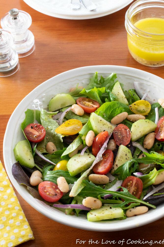 Tomato, Cucumber and White Bean Salad with Lemon Vinaigrette
