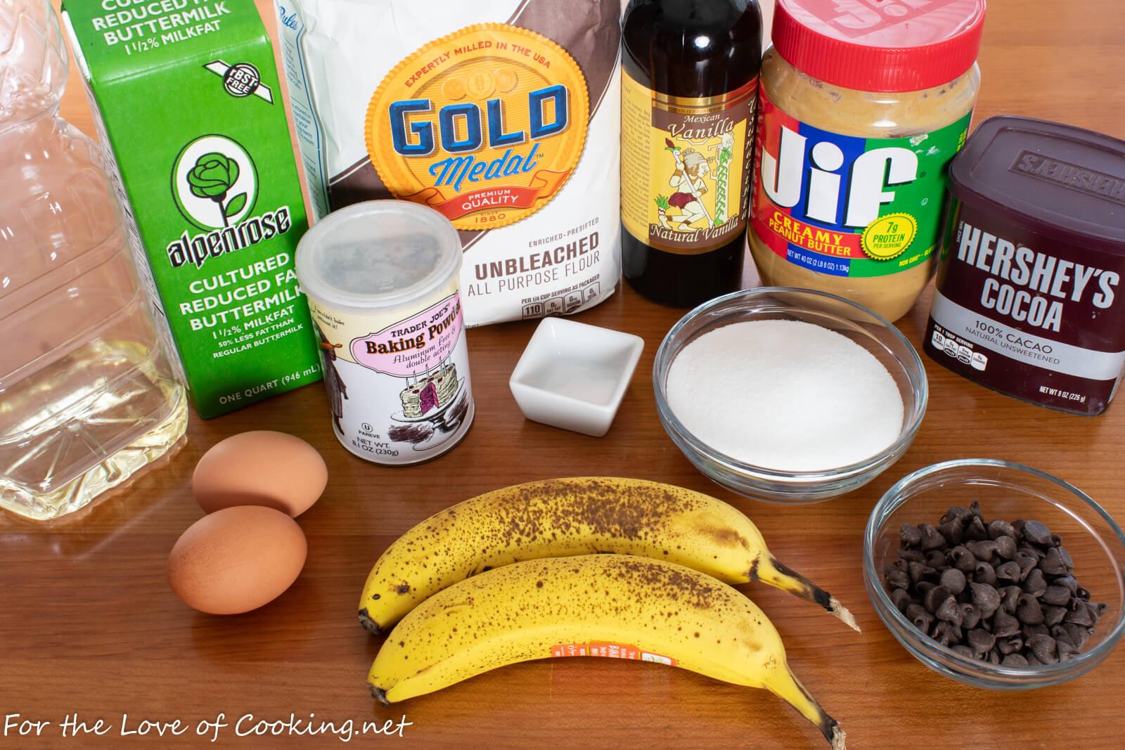 Chocolate Peanut Butter Banana Muffins
