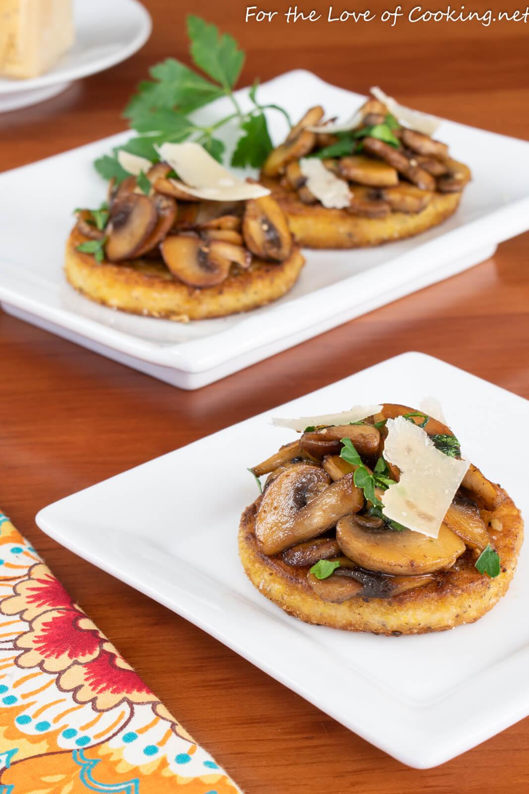 Polenta Bites with Garlic Butter Mushrooms